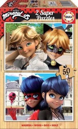 Lesene Disney puzzle - Lesene puzzle Miraculous Ladybug Educa 2x50 delov od 5 leta