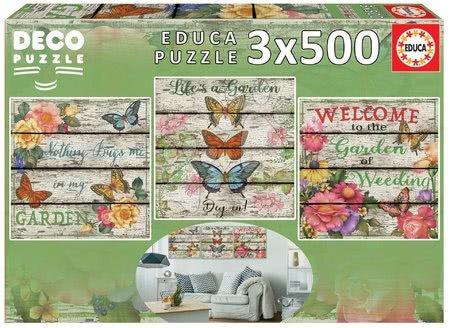 Puzzle 500 dílků - Puzzle Country Garden Educa 3x500 dílků a Fix lepidlo od 11 let