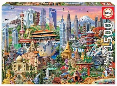1500 darabos puzzle - Puzzle Asia Landmarks Educa 1500 darabos és Fix ragasztó 11 évtől