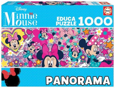 Puzzle Minnie Mouse Panorama Educa 1000 darabos és Fix ragasztó 11 évtől