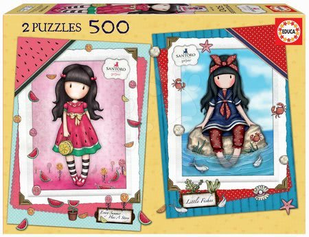 Puzzle 500 dílků - Puzzle Every Summer Santoro Educa 2x500 dílků a Fix lepidlo od 11 let