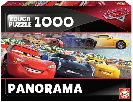 Panoramske puzzle - Puzzle Cars Panorama Educa 1000 delov in Fix lepilo od 11 leta