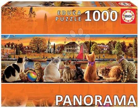 Panoramske puzzle - Puzzle panorama Cats on the Quay Educa 1000 delov in Fix lepilo od 11 leta
