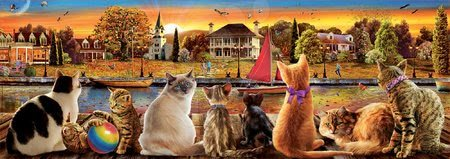 Panoramske puzzle - Puzzle panorama Cats on the Quay Educa 1000 delov in Fix lepilo od 11 leta_1