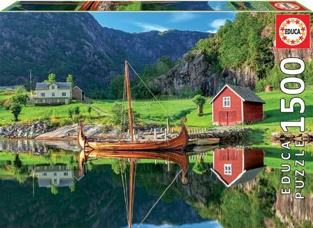 1500 darabos puzzle - Puzzle Viking ship Educa 1500 darabos és Fix ragasztó 11 évtől