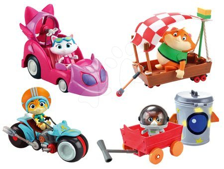Set 4 figurky kočky s vozidly 44 Cats Smoby Lampo, Milady, Meatball a Cosmo