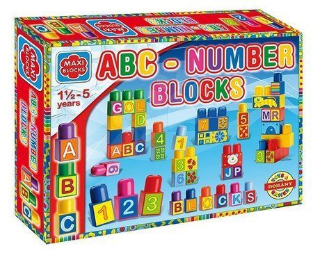 Dohány építőkockák - Nagy kockák Maxi Blocks ábécédé és számok Dohány 64 darabos 18 hó-tól