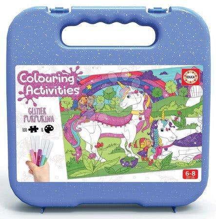 Dětské puzzle od 100–300 dílků - Puzzle omalovánky Jednorožec Colouring Activities v kufříku Educa 100 dílů – malování s třpytivými fixkami od 6 let_1