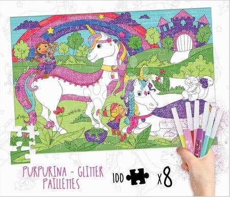 Puzzle omalovánky Jednorožec Colouring Activities v kufříku Educa 100 dílů – malování s třpytivými fixkami od 6 let