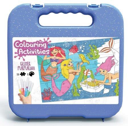 Dětské puzzle do 100 dílků - Puzzle vymaľovánky Ariela Colouring Activities v kufríku Educa 50 dielov-maľovanie s trblietavými fixkami 28*40 cm od 4 rokov EDU18067