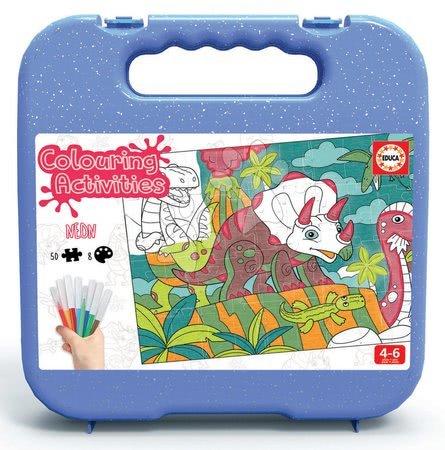 Dětské puzzle do 100 dílků - Puzzle omalovánky Dino Colouring Activities Educa 50dílné v kufříku s neonovými fixkami od 4 let