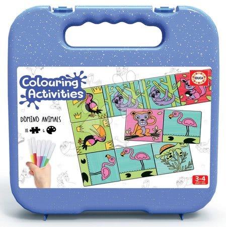 Domino a Lotto - Domino vymaľovánky Zvieratá Colouring Activities Educa v kufríku 18 dielov - maľovanie s fixkami