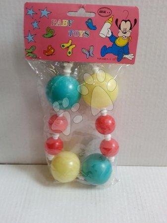Hračky pro nejmenší - Řetěz na kočářek chrastítko zeleno-žlutý