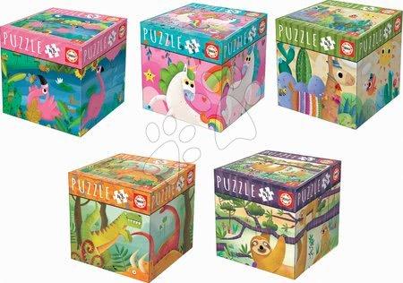 Set puzzle Mini Box Puzzle Educa 5 specii de animăluțe 48 piese 28*20 cm de la 4 ani