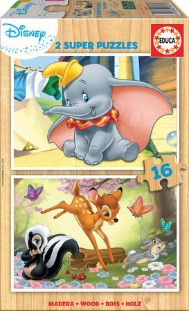Dřevěné puzzle Disney Zvířátka Dumbo Educa 2x16 dílů