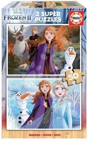 Lesene Disney puzzle - Lesene puzzle za otroke Frozen Educa 2*50 delčkov od 5 leta