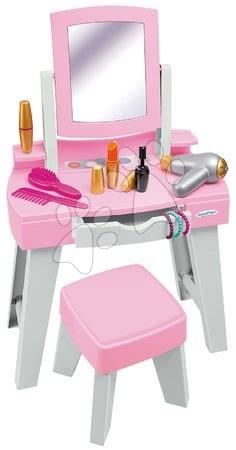 Kozmetična mizica s stolčkom My Very First Beauty Table Ecoiffier s sušilnikom za lase in 11 dodatki od 18 mes