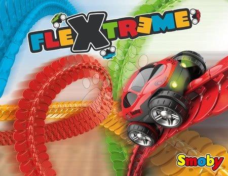 Autíčka a trenažéry - Flexibilní autodráha FleXtrem Discovery Set Smoby 184 dílů dráhy a 440 cm dlouhá s elektronickým svítícím autem od 4 let_1