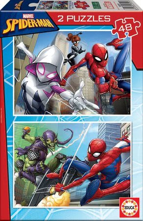 Spiderman - Puzzle Omul păianjen Educa 2x48 piese de la 4 ani