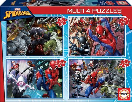 Puzzle Multi 4 Spiderman Educa 50-80-100-150 dielov EDU18102