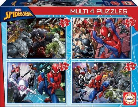 Spiderman - Puzzle Multi 4 Spiderman Educa 50-80-100-150 piese de la 5 ani