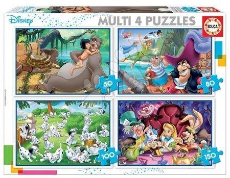 Progresivní dětské puzzle - Puzzle Multi 4 Disney Educa 50-80-100-150 dílků od 5 let