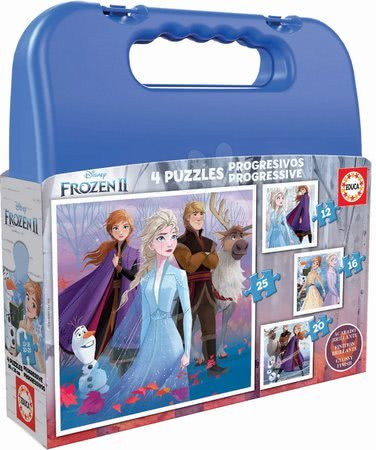 Progresivní dětské puzzle - Dětské puzzle v kufříku Frozen 2 Case Educa 12-16-20-25 dílků od 4 let