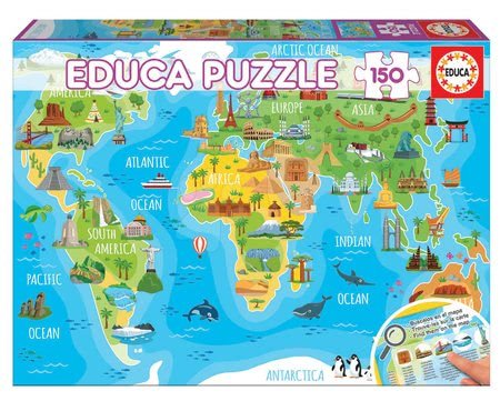 Detské puzzle od 100-300 dielov - Puzzle Mapa sveta s monumentmi Educa 150 dielov od 7 rokov