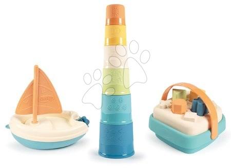 Barcă cu pânză cu coș didactic și turn din trestie de zahăr Bio Sugar Cane Smoby Green colecția într-un ambalaj cadou de la 12 luni