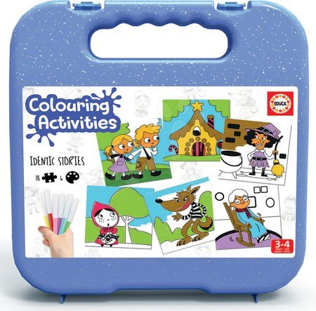 Pexeso - Pexeso vymaľovánky Rozprávky Colouring Activities Educa v kufríku 18 dielov - maľovanie s fixkami_1
