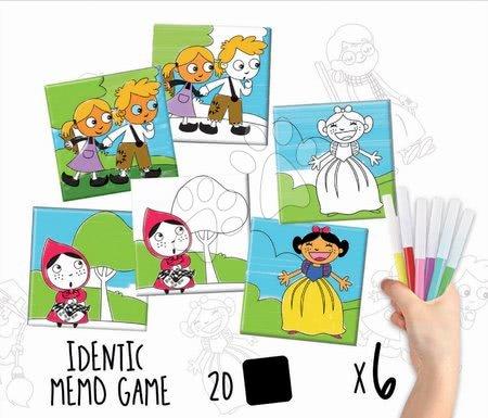 Pexeso - Pexeso vymaľovánky Rozprávky Colouring Activities Educa v kufríku 18 dielov - maľovanie s fixkami