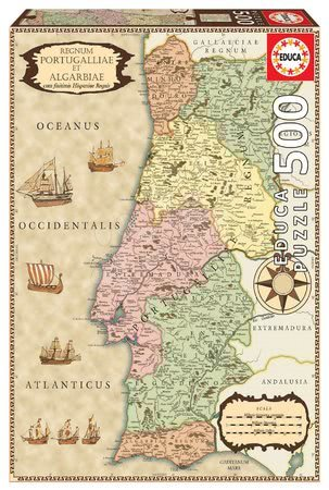 500 delne puzzle - Puzzle zgodovinski zemljevid Portugalske Educa 500 delov in Fix lepilo od 11 leta