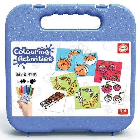 Spoločenské hry - Pexeso vymaľovánky Predmety Colouring Activities v kufríku Educa 18 dielov - maľované s fixkami