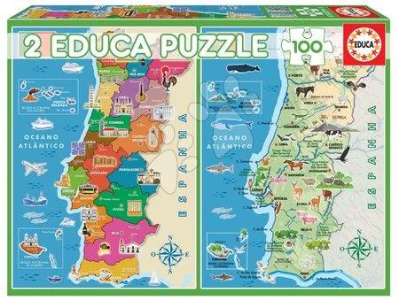Dětské puzzle od 100–300 dílků - Puzzle Distritos Mapa Portugalska Educa 2 x 100 dílků od 6 let