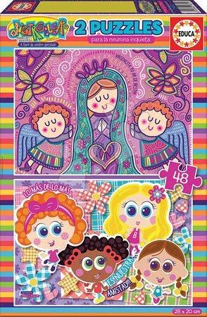 Dětské puzzle od 100–300 dílků - Puzzle Dětičky a Andělé Educa 2 x 100 dílků od 6 let