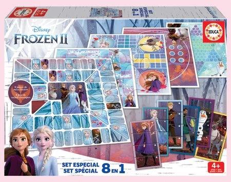 Spoločenské hry - Detské spoločenské hry Frozen 2 Disney 8v1 Special set Educa od 4 rokov po anglicky francúzsky španielsky
