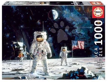 Puzzle 1000 dílků - Puzzle First Man on the Moon Educa Robert McCall 1000 dílků a Fix lepidlo od 11 let