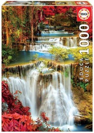 Puzzle cu 1000 de bucăți - Puzzle Waterfall in Deep Forest Educa 1000 piese și lipici Fix puzzle de la 11 ani