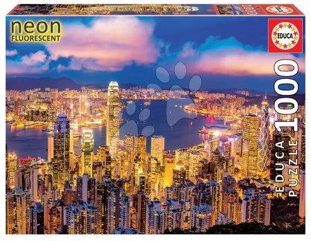 Neonové puzzle Hong Kong Skyline Educa 1000 dílků a Fix lepidlo od 11 let
