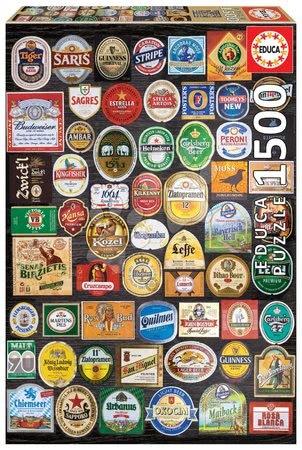 1500 darabos puzzle - Puzzle Beer labels Collage Educa 1500 darabos és Fix puzzle ragasztó 11 évtől