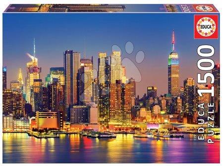 1500 darabos puzzle - Puzzle Manhattan at Night Educa 1500 darabos és Fix puzzle ragasztó 11 évtől