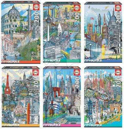 Dětské puzzle od 100–300 dílků - Set Puzzle Citypuzzles Carlo Stanga Educa 6 x 200 dílků – Rome, Berlin, London, Paris, New York, Barcelona ilustrátor od 8 let