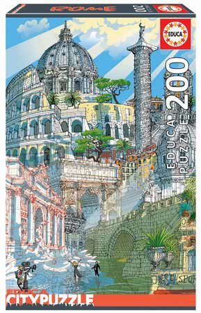 Dětské puzzle od 100–300 dílků - Puzzle Rome Citypuzzles Carlo Stanga Educa 200 dílků – ilustrátor od 8 let