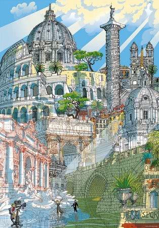 Dětské puzzle od 100–300 dílků - Puzzle Rome Citypuzzles Carlo Stanga Educa 200 dílků – ilustrátor od 8 let_1