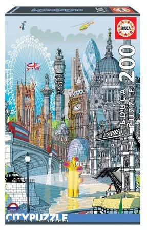 Dětské puzzle od 100–300 dílků - Puzzle London Citypuzzles Carlo Stanga Educa 200 dílků – ilustrátor od 8 let