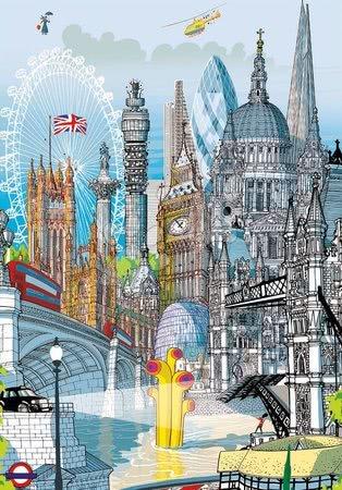 Dětské puzzle od 100–300 dílků - Puzzle London Citypuzzles Carlo Stanga Educa 200 dílků – ilustrátor od 8 let_1