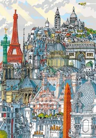 Dětské puzzle od 100–300 dílků - Puzzle Paris Citypuzzles Carlo Stanga Educa 200 dílků – Ilustrator od 8 let_1