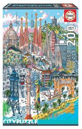Dětské puzzle od 100–300 dílků - Puzzle Barcelona Citypuzzles Carlo Stanga Educa 200 dílků – ilustrator od 8let