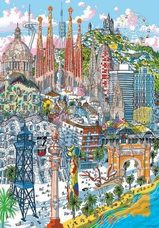 Dětské puzzle od 100–300 dílků - Puzzle Barcelona Citypuzzles Carlo Stanga Educa 200 dílků – ilustrator od 8let_1