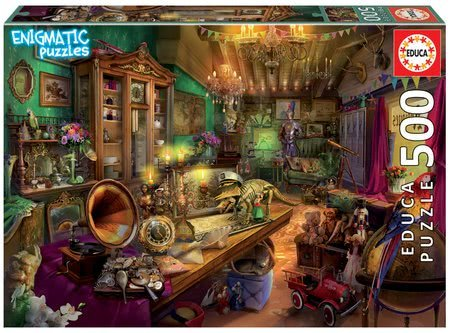 Puzzle Antiques Store Mysterious Educa 500 dílků a Fix lepidlo od 11 let